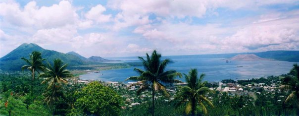 A long time after the eruption... panoramic shot of harbour.